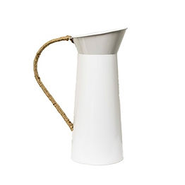 White Metal Pitcher with Rope Handle