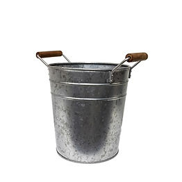 Galvanized Bucket with Wood Handles
