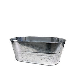 Silver Galvanized Oval Bucket