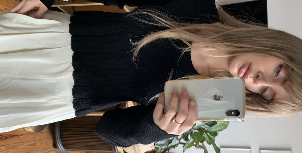 scalloped black sweater