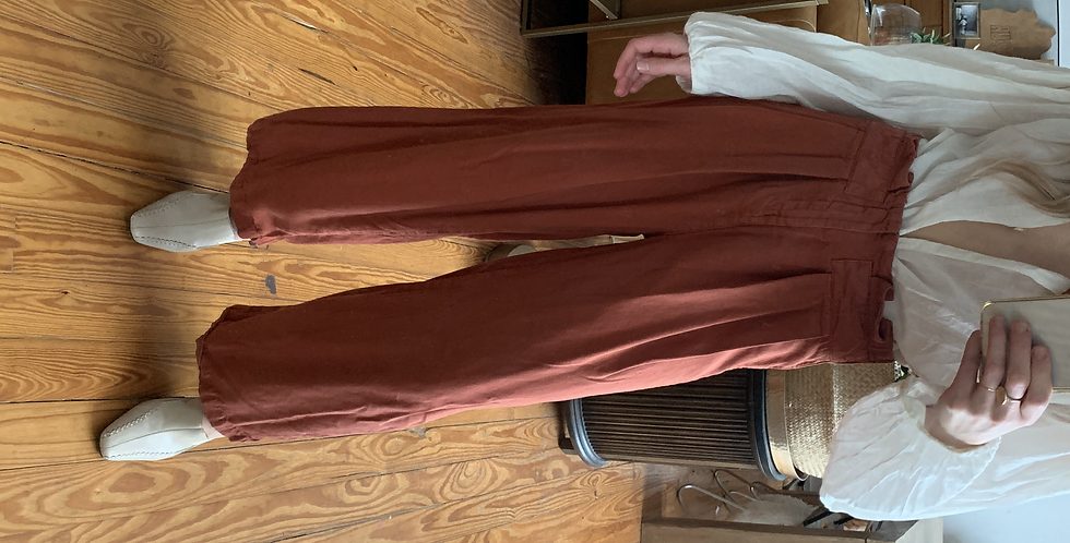 rust wide leg pants