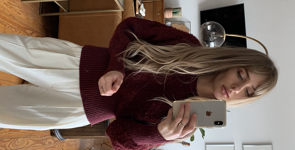 Vintage wine red sweater