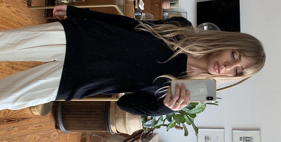 black faux leather zipper sweater