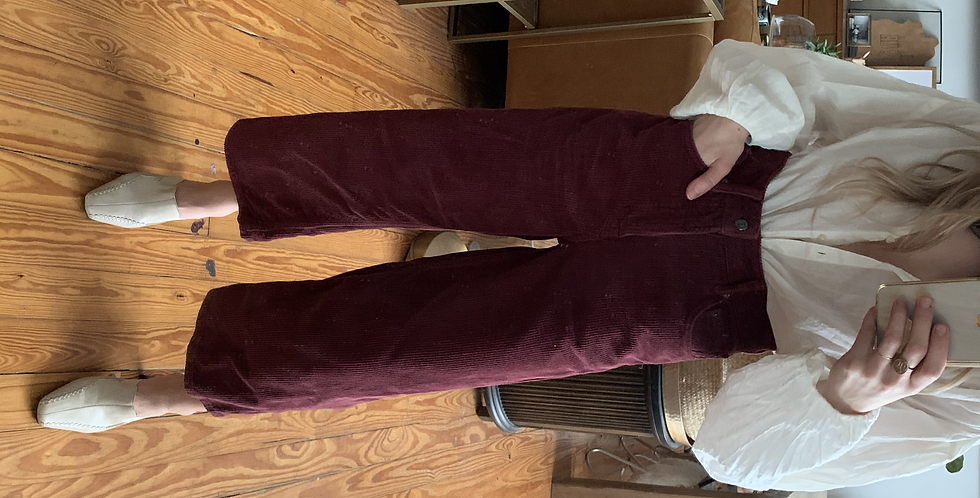 burgundy cord wide leg pants