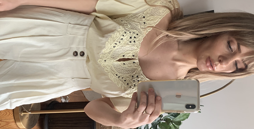 butter cream ruffle embroidered top