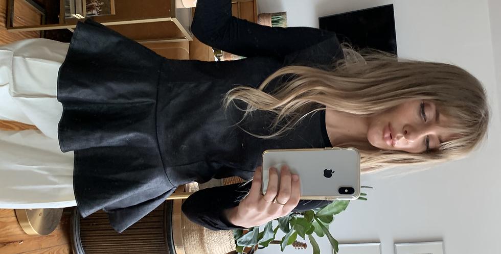 Leather look pep top long sleeve