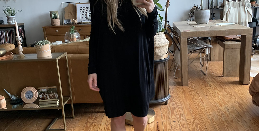 Soft black flow dress
