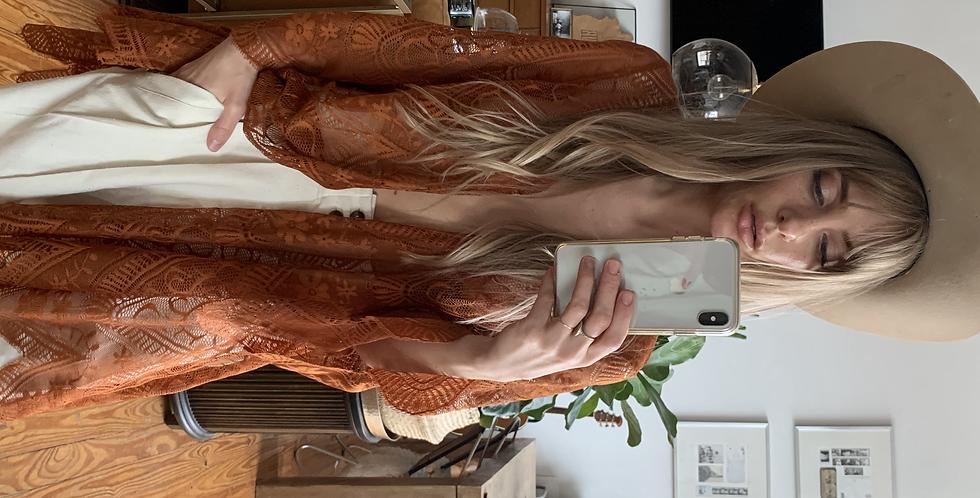 rusty orange lace kimono