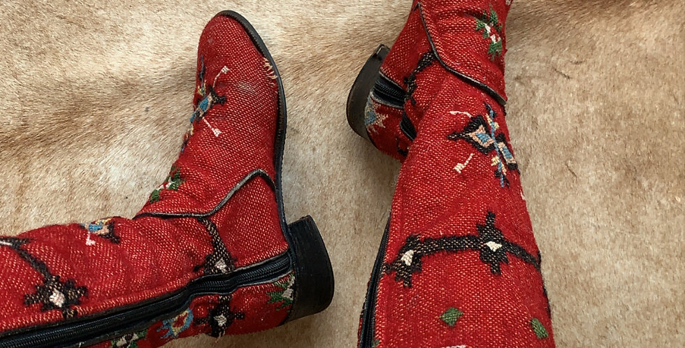 vintage knitted southwestern booties