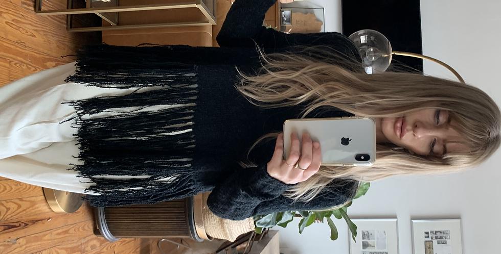 wrap back fringe black sweater