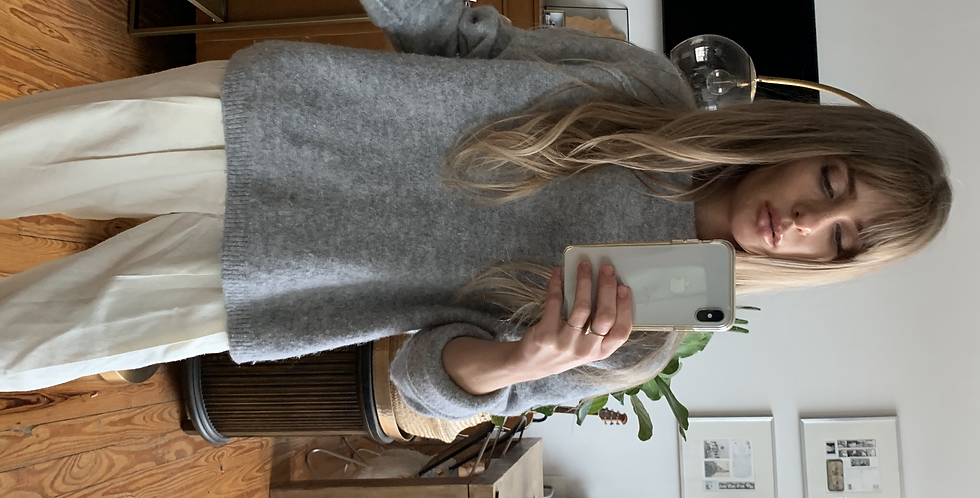 thick grey free people sweater