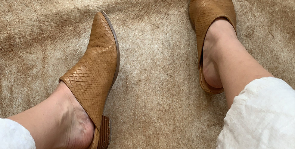 camel leather snake mules