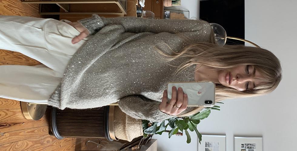 mini sequin natural sweater
