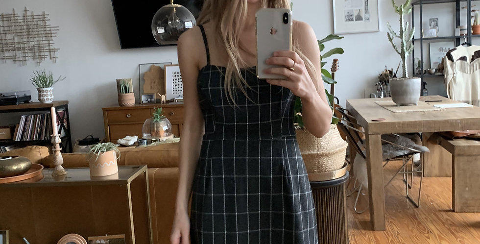 Vintage grid thick fabric dress
