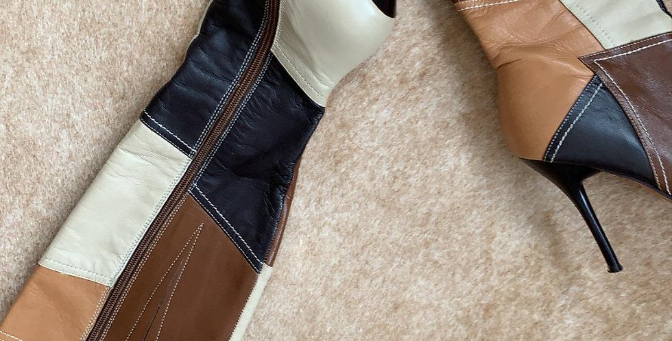 retro patchwork vintage boots