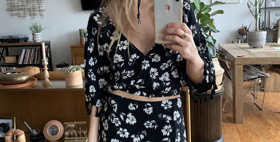 Flower tassel skirt and top set