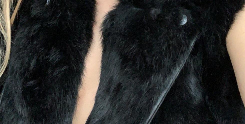 Black fur Moto vest