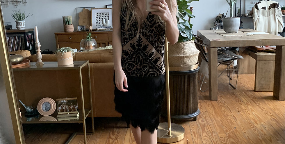 Velvet flapper silk fringe dress