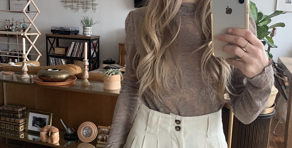 nude sheer high neck lace top