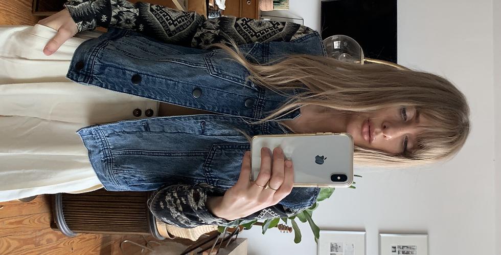 Southwestern quilted denim jacket