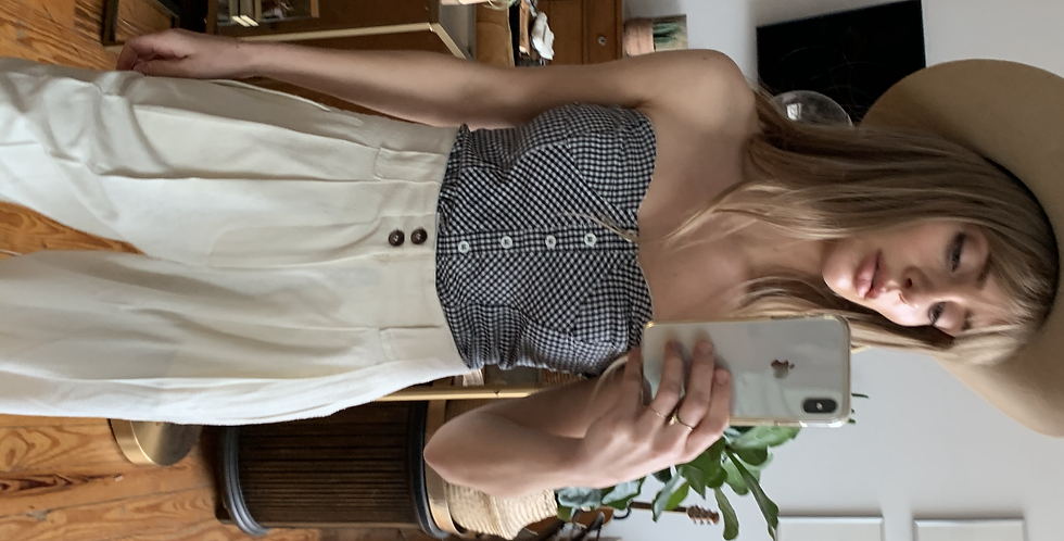 picnic check tube top with buttons