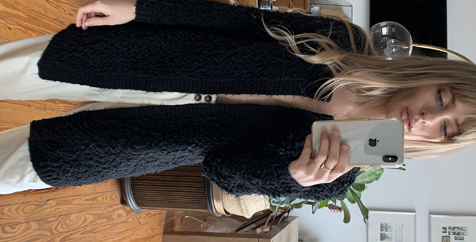 Black looped cardigan