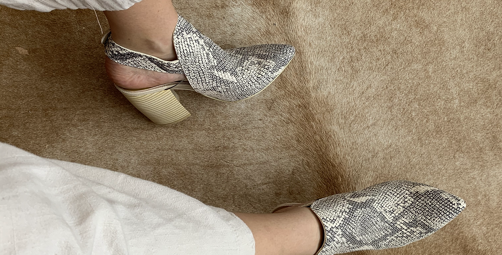 New in Box snake print booties with wood heel