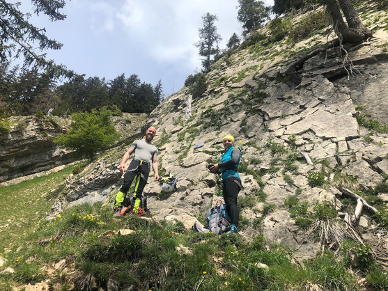 Am Einstieg zur Kletterei
