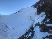 Querung in den Gletscherhang zum Hugisattel