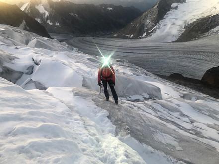 Mitten im ersten Eisfeld nach der Hütte