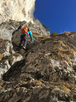 Beginn der Kletterei