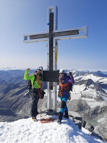Manuel und Alex am Gipfel des Großvenediger, 3666m