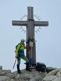 Alex am Gipfel des Hochvogel, 2593m
