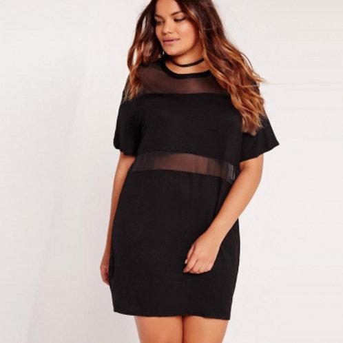 Vestido Negro Corto Plus Size Con Transparencias Talla Hasta 6xl