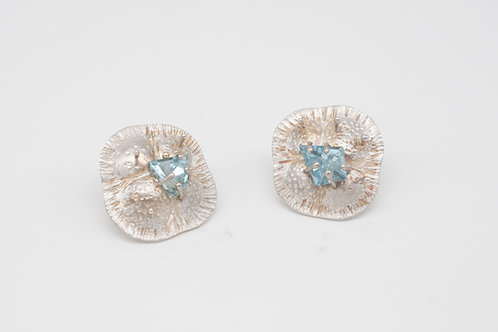 Ohrringe Silber + Aquamarine