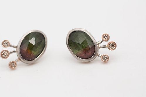 Sternschnuppe- Ohrringe mit Turmalin und Diamanten