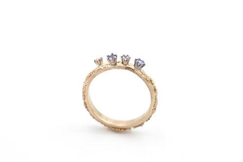 Weltenbummler-Ring mit Tansaniten und Diamant