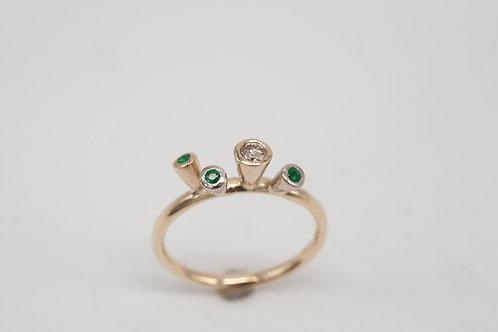Tütenring- Smaragd & Diamanten