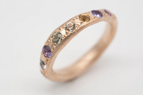 Fingerprint Ring + Saphire+ Amethyst