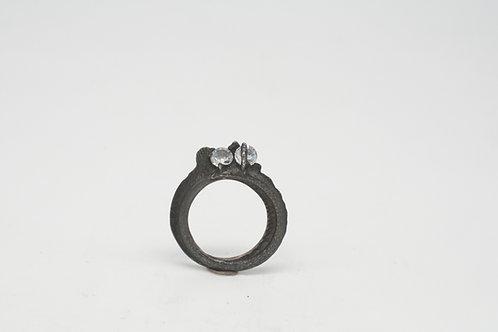 Ossa Sepia Ring - Silber geschwärzt