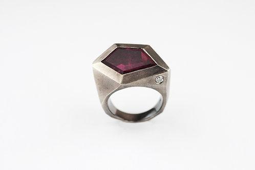 Silberring mit Turmalin und Diamant