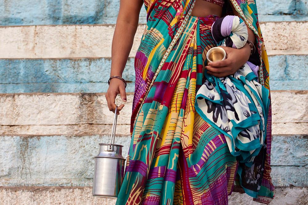 Women of Banaras, gathering holly water