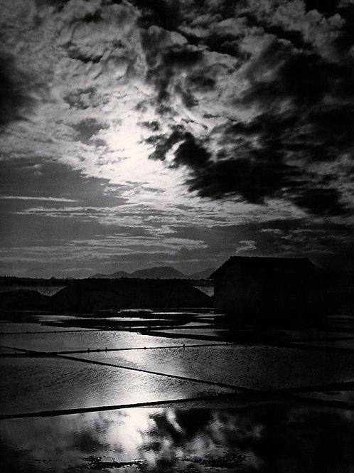 Pôr-de-sol nas salinas