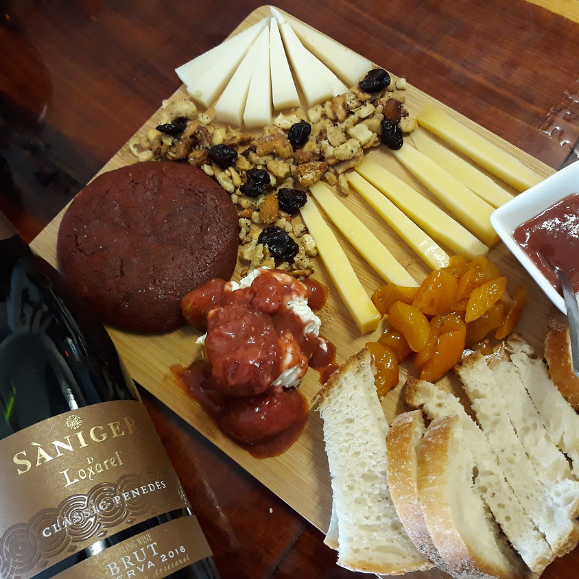 Valentine's Day Sparkling Wine and Cheese Board