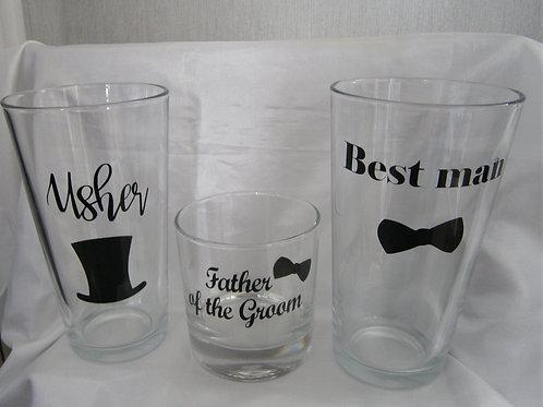 Groom's Wedding Party Glass