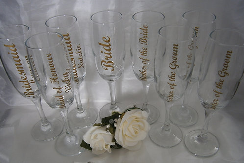 Personalised Bridal Champagne Flutes
