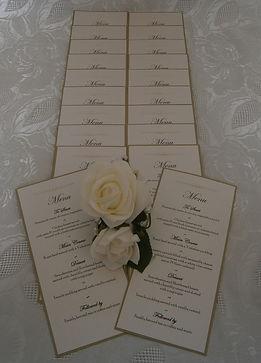 Handmade wedding menu cards