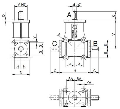Poggi 2000 series right angle spiral bevel gearbox component power transmission dimensions