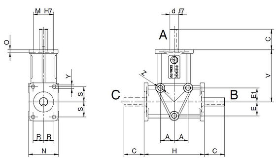 Poggi 4000 Series Right Angle Spiral Bevel Gearbox 2 way 3 way 1:1 1:2 1:3