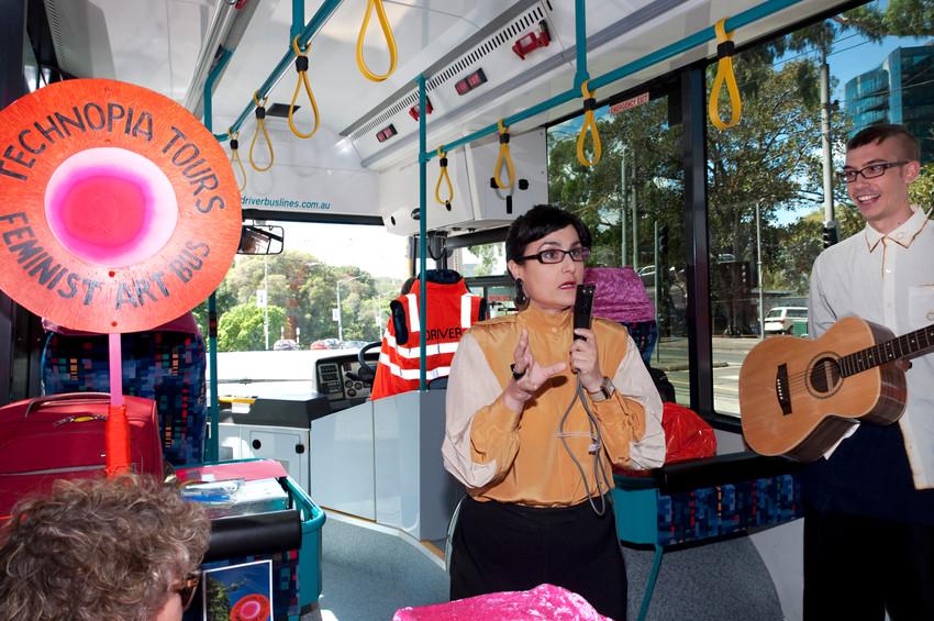 THE f WORD public program // Technopia Tours: Feminist Art Bus // Inez de Vega performance // Photograph by Kate Robertson